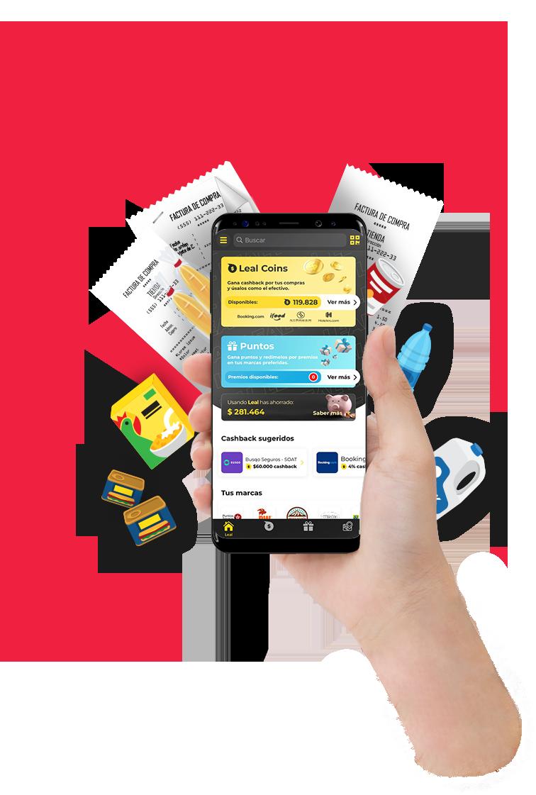 Imagen de celular con la aplicación de leal abierta